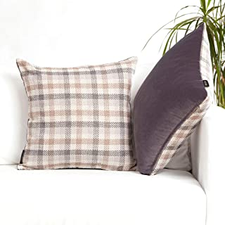 Grey Throw Pillows Pack of 2- Plush Solid Soft Velvet and Tartan Plaid Checkered Linen Square Accent Decorative Pillow Covers Cases for Couch Bed Sofa, Rustic Boho Farmhouse Home Decor, Gray, 18x18