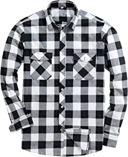 Men's Button Down Regular Fit Long Sleeve Plaid Flannel Casual Shirts