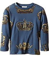 Dolce & Gabbana Kids - Crown Print Long Sleeve T-Shirt (Toddler/Little Kids)