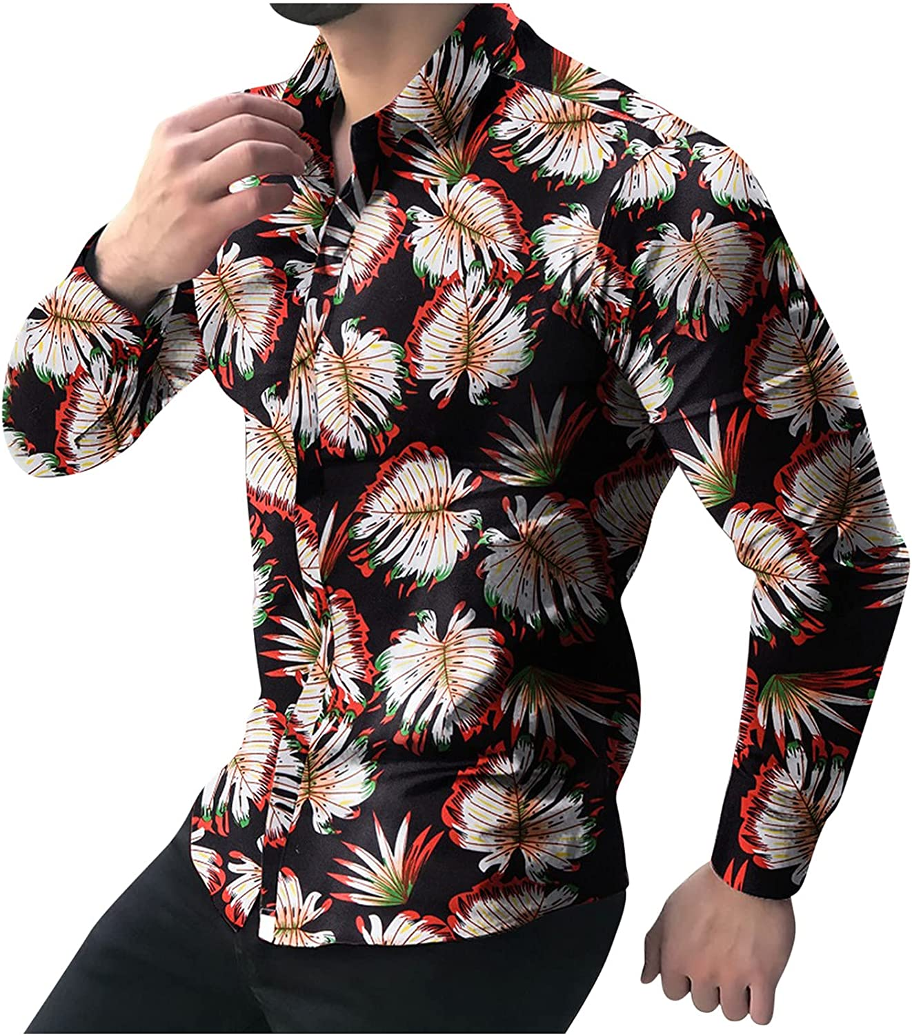 Long Sleeve for Men's Novelty Button Down Shirt Butterfly Printing T Shirts Mens Slim Bussiness Dress Shirts