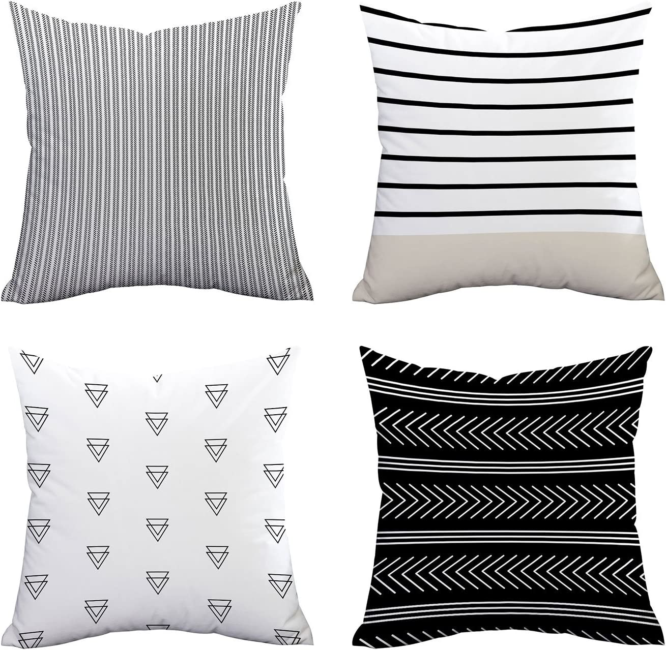 Fascidorm Manufacturer OFFicial shop Outstanding Set of 4 Pillow Cas Throw Pattern Covers Stripe
