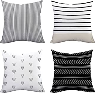 Set of 4 Pillow Covers Stripe Pattern Throw Pillow Case Daily Decorations Sofa Throw Pillow Case Cushion Covers Zippered Pillowcase 18