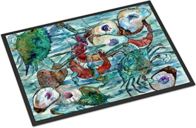 "Caroline's Treasures Watery Shrimp, Crabs and Oysters Indoor or Outdoor Mat 24x36 8964JMAT, 24""H x 36""W, Multicolor"