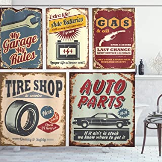 Ambesonne 1950s Shower Curtain, Vintage Car Signs Automobile Advertising Repair Vehicle Garage Classics Servicing, Cloth Fabric Bathroom Decor Set with Hooks, 84