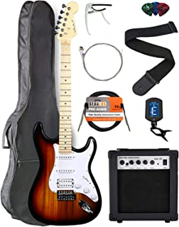Vault ST1-E Sunburst Electric Guitar with Maple Neck Bundle with Gig Bag, 10w Amp, Strap, Tuner, Strings, Instrument Cable, Capo, and Picks