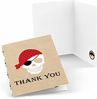 Beware of Pirates - Pirate Birthday Party Thank You Cards (8 Count)