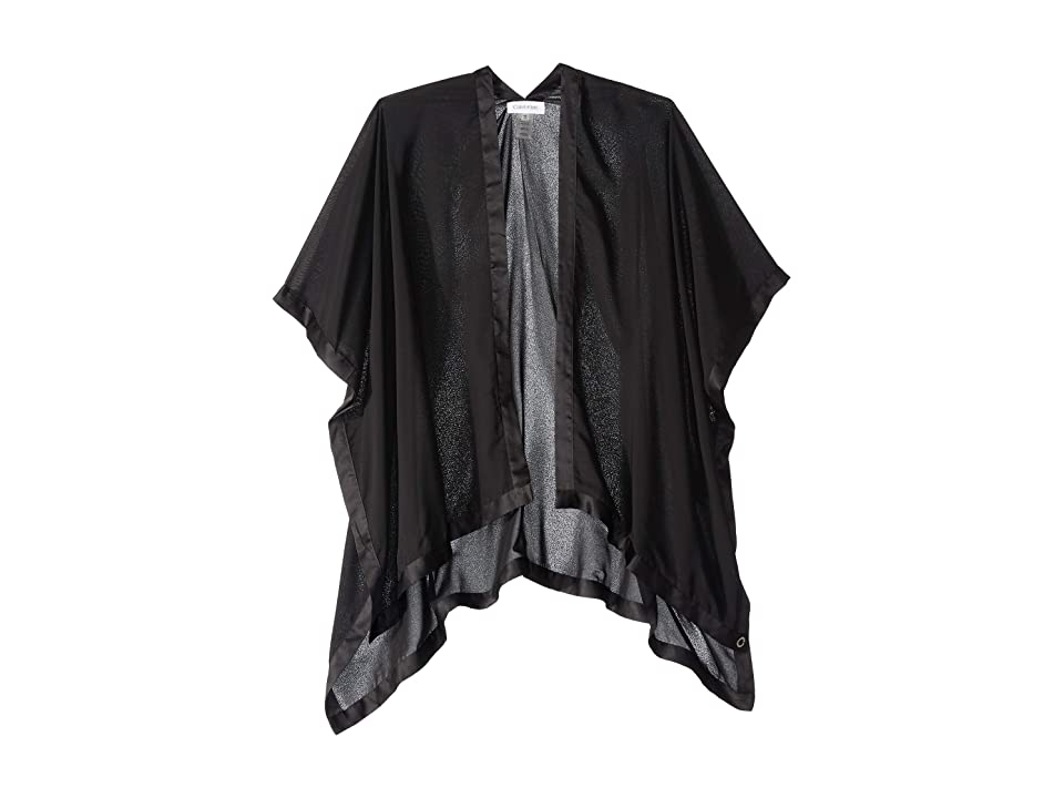 Calvin Klein Satin Border Chiffon Shawl (Black) Women