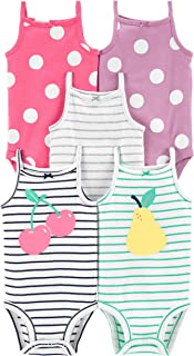 Kit Body Carter's 5 Peças Regata Frutinhas, Rosa, Roxo, Branco Bebê Menina