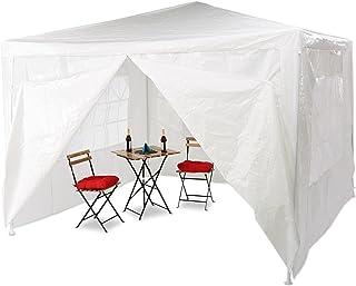 Relaxdays Pavillon 3x3 m, 4 Seitenteile, Metall Gestell, PE Plane, Fenster, Festival Partyzelt, Geschlossen, Weiß