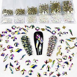 Yantuo 200 pcs Mixed Shapes 3D Nail Rhinestones Crystal AB,6size ss4 to ss12 Round Flat Back Rhinestone, Bling Multi Shape...