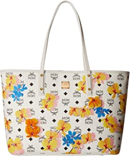 MCM Essential Floral Print Top Zip Shopper