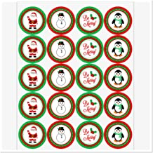 "2"" Round Sticker Labels, Christmas Set Of 20 Party Favor Sticker Labels, Classroom Candy Bags, Mason Jar Stickers, Santa, ..."
