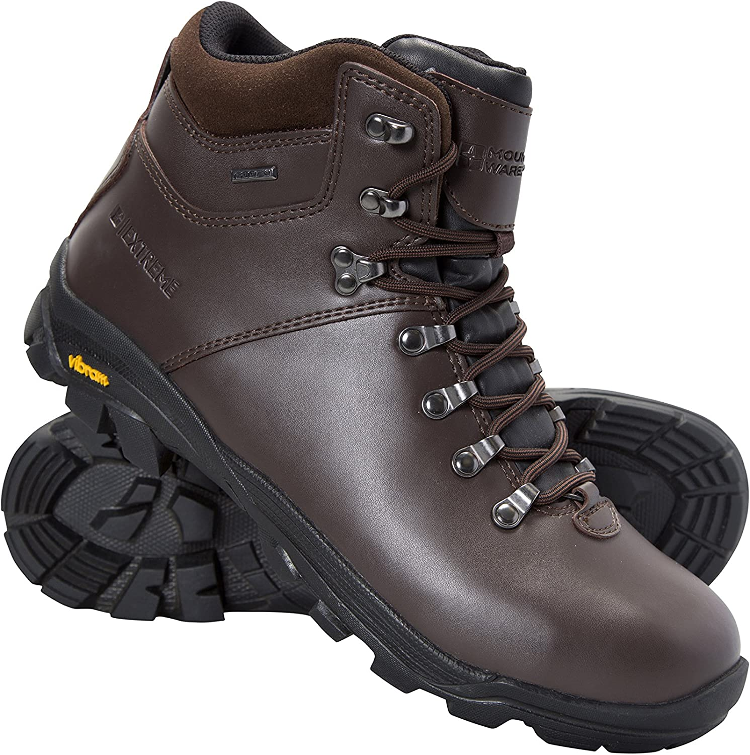 Mountain Warehouse Brecon Mens Waterproof Vibram Boots - Breathable, Quick Drying, Leather Upper, Antibacterial Outsoles & EVA Cushioned Footbed - for Hiking & Trekking