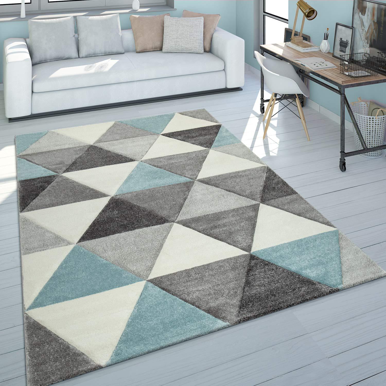 Paco Home Kurzflor Teppich Wohnzimmer Türkis Grau Pastellfarben Rauten  Dreieck Design, Grösse:8x8 cm