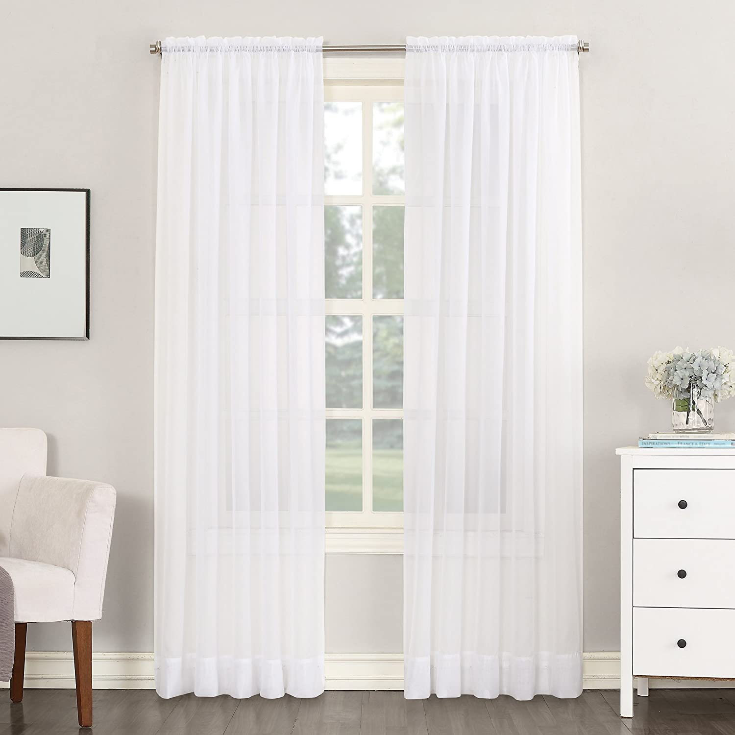No 918 Emily 59 By 84 Inch Sheer Voile Curtain Panel White Amazon Ca Home Kitchen