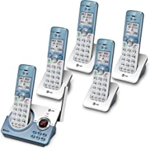 $114 » AT&T DL72539 Cordless Phone with Bluetooth Connect to Cell, Smart Call Blocker and Answering System, 5 Handsets, White/Cha...