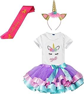 Girls Layered Tutu Skirts with Unicorn Horn Headband, Unicorn Birthday Tshirt 3-9 Years