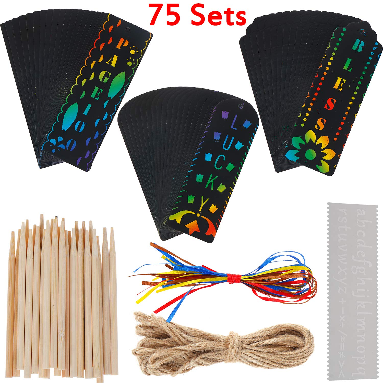 15 Pieces Wood Stylus Honoson 75 Pieces Scratch Paper Scratch Bookmarks DIY Bookmarks 75 Pieces Colorful Rope for Craft Supplies