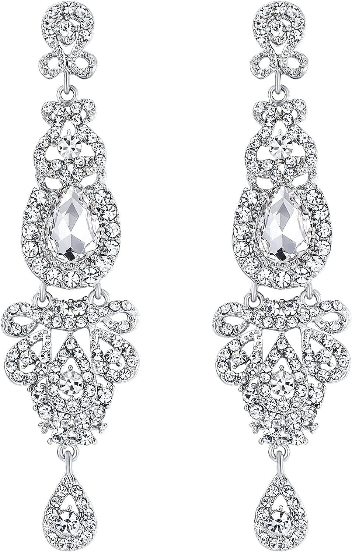 BriLove 40% OFF Cheap Sale Women's Wedding New mail order Bridal Crystal Art Long Chandelier Deco