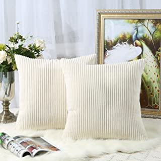 Miaote Pack of 2 Decorative Throw Pillow Covers Cases for Couch Bed Sofa,Striped Corduroy Velvet Cushion Covers for Baby, 16 X 16 Inches,Cream Cheese