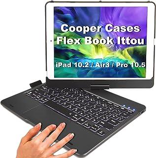 Cooper Cases Flex Book Ittou タッチパッド付キーボードケース【 iPad 10.2 第8世代 / 第7世代 / Air3 / Pro 10.5 】日本語かな 360度 回転 10色バックライト (スペースグレー)