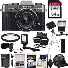 $1069 Get Fujifilm X-T30 Wi-Fi Digital Camera & 15-45mm XC OIS PZ Lens (Charcoal) + 64GB Card + Battery/Charger + LED Light + Mic + Tripod + Flash + Case + 2 Lens Kit