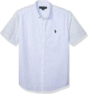 Men's Striped Poplin Short Sleeve Single Pocket Sport Shirt