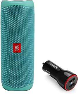 JBL Flip 5 Waterproof Portable Wireless Bluetooth Speaker Bundle with 2-Port USB Car Charger - Teal