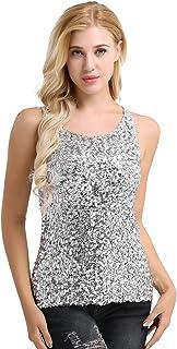 c7ad4fcdb8 FEESHOW Women s Sequins Turtleneck Summer Embellished Sparkle Vest Tank Tops