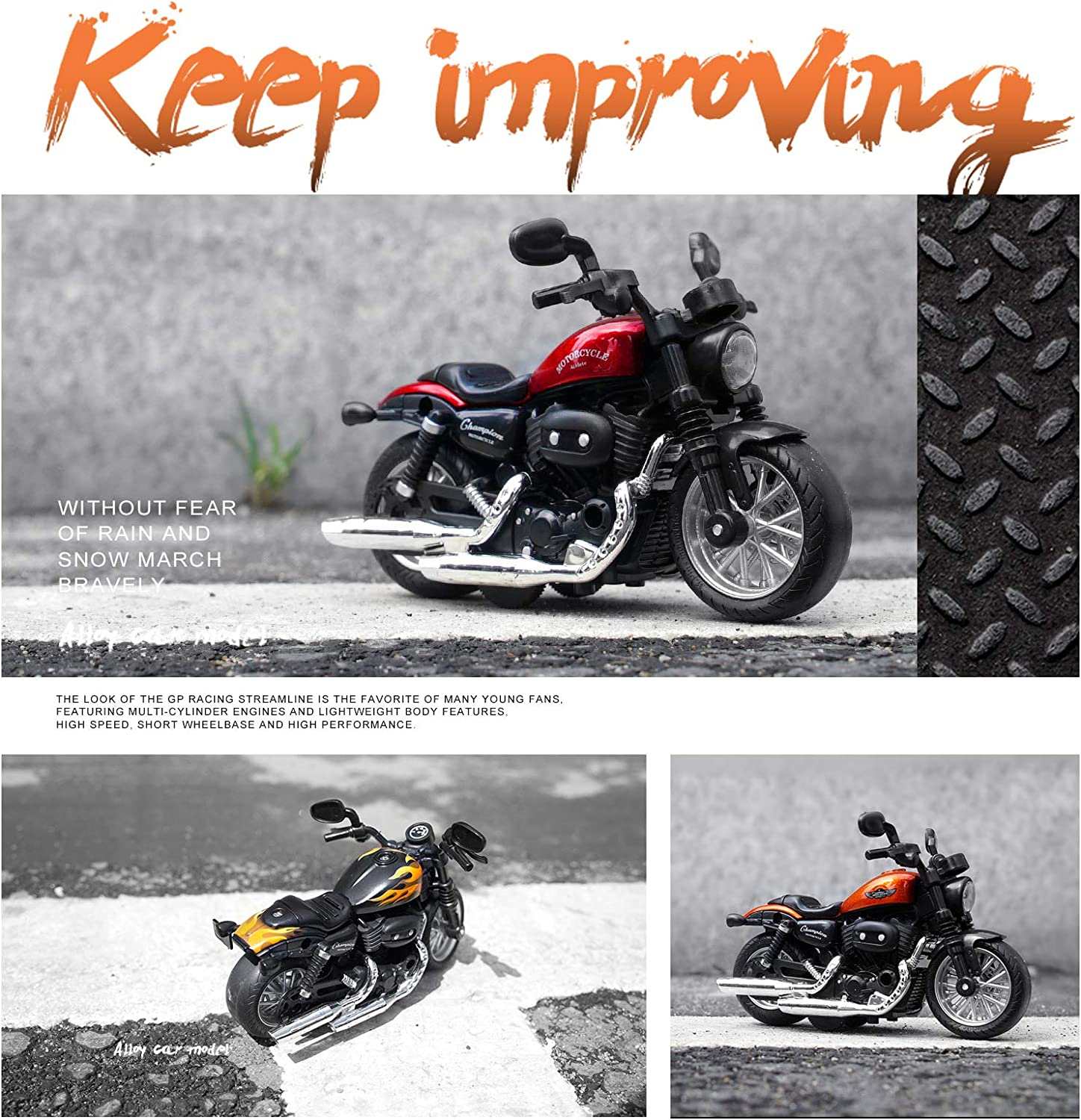 Toy Motorcycles for Boys MING YING 66 Mini Motorcycle Toy Gift Toys for 3 4 5 6 7 8 Year Old Boys with Light and Music Toys Motorcycle Model Orange