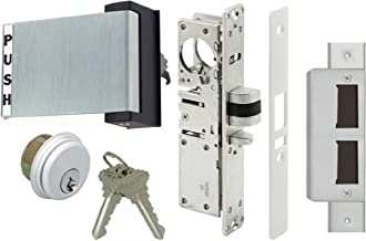 Adams Rite Style Latch Storefront Door Mortise Deadlatch Lock Exit Paddle Handle Kit w/Cylinder & Keys, in Aluminum (1-1/8
