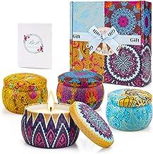 Yinuo Candle Velas Perfumadas Vela Aromática Caja de Regalo 4 Latas, 4.4 oz, 120 Horas de Quema, Cera de SOYA con Tarjeta de Felicitación, Patrón Clásico