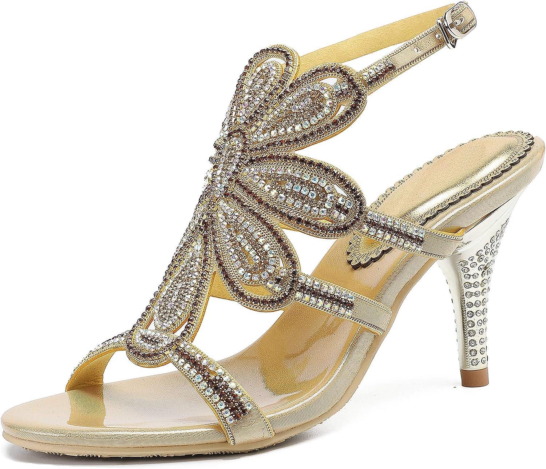 LizForm Women Fashion Stilettos Open Toe Pump Heel Sandals Caged Strappy Dress Heels