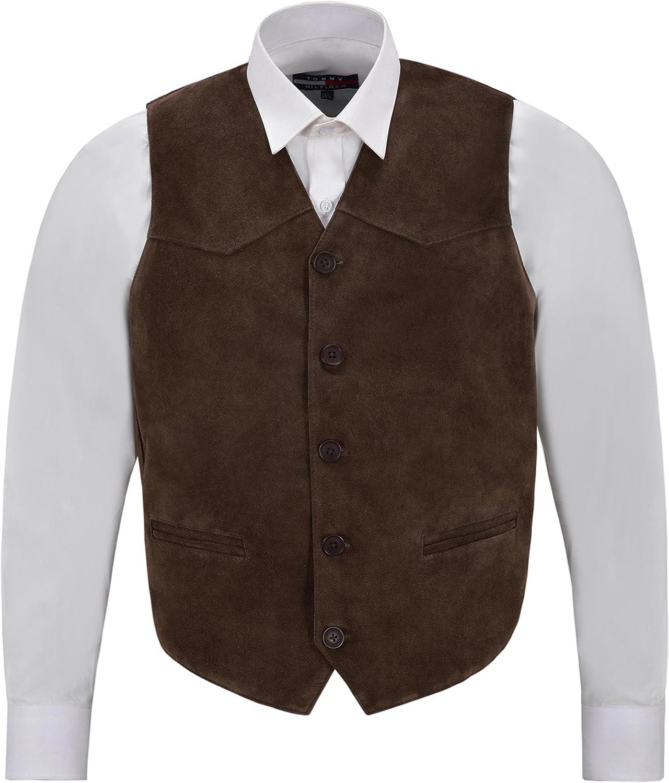 Smart Range Men's Brown Suede Real Leather Waistcoat Western Cowboy Festival Party Vest Zara
