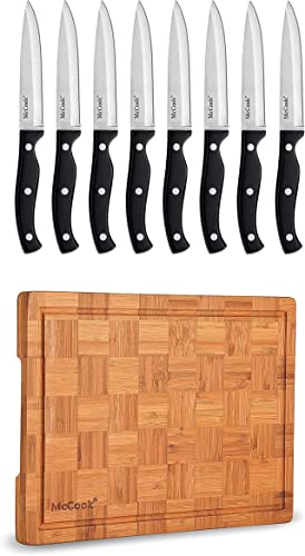"""high quality McCook MC55 Full outlet online sale popular Tang Serrated Stainless Steel Steak Knife Set, Black + MCW12 Bamboo Cutting Board (Small, 14""""x10""""x0.8"""") outlet sale"""