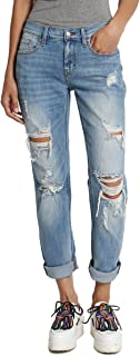 Distressed Girlfriend Straight Relaxed Roll Up Jeans in Light Blue Wash