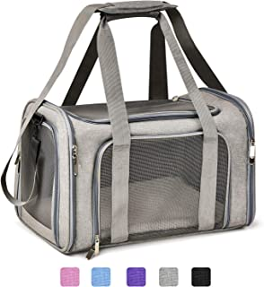 Henkelion Cat Carriers Dog Carrier Pet Carrier for Small Medium Cats Dogs Puppies of 15 Lbs, TSA Airline Approved Small Dog Carrier Soft Sided, Collapsible Puppy Carrier - Black Grey Pink Purple Blue