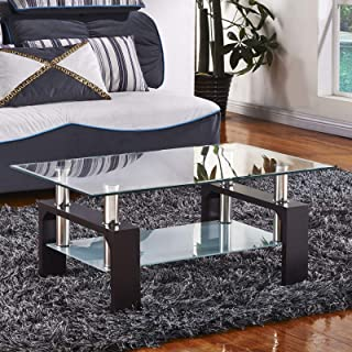 Mecor Rectangle Glass Modern Coffee Table with Shelf & Wood Legs Suit for Living Room Walnut