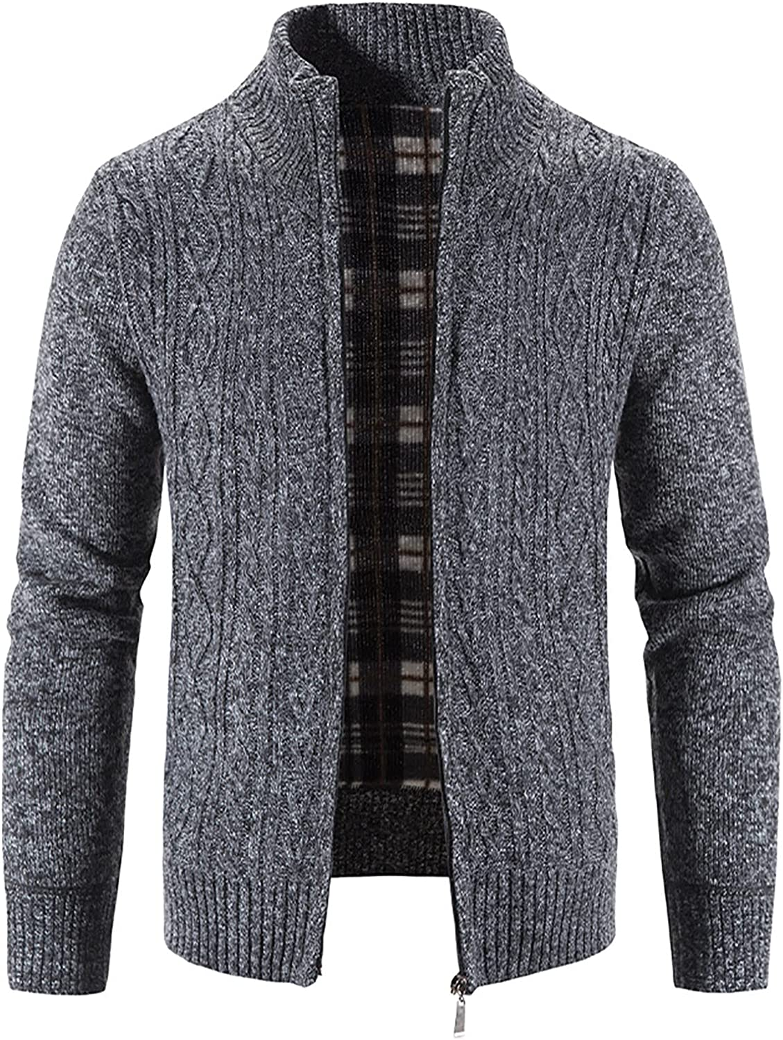 Bravetoshop Men's Cardigan Sweaters Casual Slim Fit Full Zip Thick Knitted Sweater with Pockets