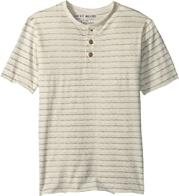 Lucky Brand Kids - Short Sleeve Print Henley (Little Kids/Big Kids)