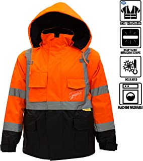 New York Hi-Viz Workwear J8511-L Men's Ansi Class 3 High Visibility Safety Bomber Jacket With Zipper, PVC Pocket, Black Bottom and Detachable sleeve (Large, Orange)