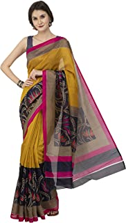 Beautiful Printed Multi-Color Art Bhagalpuri Silk Latest Designer Women Saree With Blouse Piece