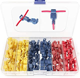 120 PCS Recan T Tap Electrical Connectors – Quick Wire Splice Taps and Insulated Male Quick Disconnect Terminals