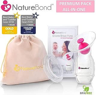 NatureBond Silicone Manual Breast Pump Breastfeeding Milk Saver Suction | Bonus Pump Stopper, Lid, Pouch, AirTight Vacuum Sealed in Hardcover Gift Box. BPA Free & 100% Food Grade Silicone