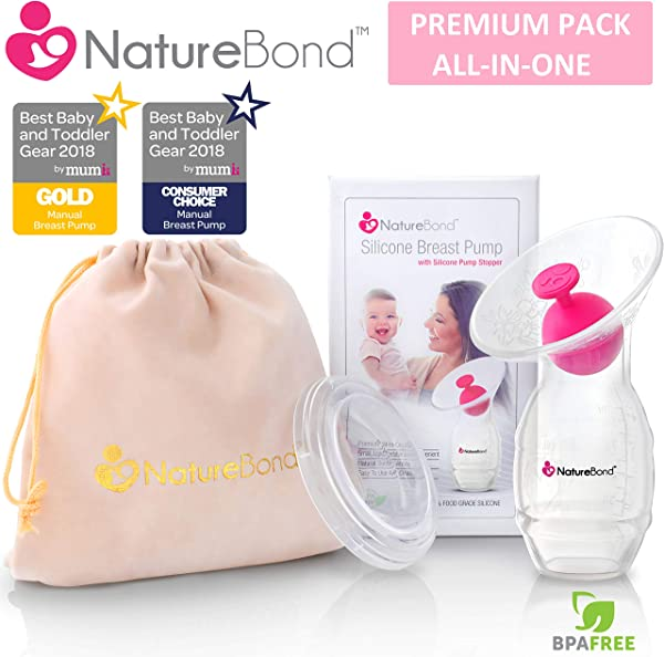 NatureBond Silicone Breastfeeding Manual Breast Pump Milk Saver Suction All In 1 Pump Stopper Cover Lid Carry Pouch Air Tight Vacuum Sealed In Hardcover Gift Box BPA Free Premium Pack