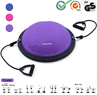 RGGD&RGGL Balance Trainer with Anti-Slip Massage Granule,Anti-Burst Yoga Half Ball Support 771 lbs,with 2 Resistance Bands and Pump,for Home&Gym