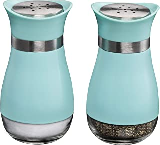 MITBAK Salt and Pepper Shakers (2-Pc. Set) Elegant w/Clear Glass Bottom | Compact Cooking, Kitchen and Dining Room Use | Classic, Refillable Design (Blue)