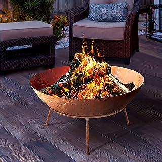 Firepits-Grillz 70cm Fire Pit Portable Round Bowl Camping Backyard Garden