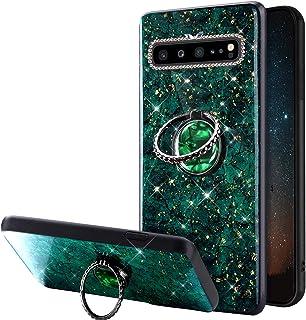 Funda Compatible con Samsung Galaxy S10 5G Carcasa Case Polvo de Brillo Purpurina Glitter Bling Rhinestone Anillo Soporte ...