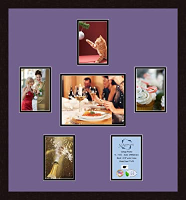 Art to Frames Double-Multimat-356-586//89-FRBW26061 Collage Frame Photo Mat Double Mat with 5-5x7 and 1-8x10 Openings and Espresso Frame